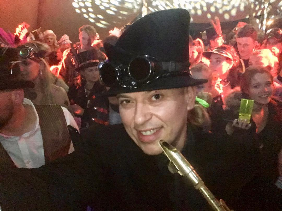 Andy Sax private mini festival with burningman steampunk theme